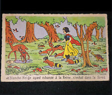 Walt Disney SNOW WHITE FOREST Vintage circa 50s French Frameable Art Postcard