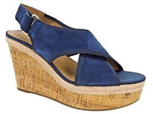 Franco Sarto Women's Taylor Platform Wedge Sandals Navy Blue Size 9 M
