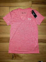 Womens Under Armour Short Sleeve V-Neck T-Shirt Pink New Size XS X-Small