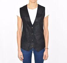Black Leather Textile WALLSTREET Waist Length Western Women's Waistcoat Size M