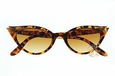 Small Vintage Cat Eye Women's Sunglasses Rhinestones Tortoise Brown Gradient 50s
