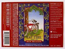 New Belgium FAT TIRE AMBER ALE beer label CO 12oz - Var. #12 - 3/4 bike