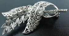 1950s Silver 'Sterling Foreign' Filigree & Marcasite Flower Swirl Brooch