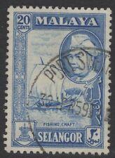 MALAYA SELANGOR SG123 1957 20c BLUE FINE USED