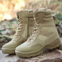 Men's High Top Ankle Boots Combat Shoes Desert Army Hiking Tactical Patrol New