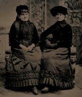 OLD VINTAGE ANTIQUE TINTYPE PHOTO HAPPY SMILING WOMEN LADIES IN NICE ATTIRE