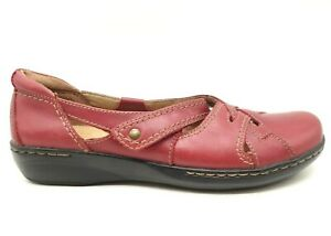 Clarks Red Leather Casual Adjustable Slip On Loafers Shoes Women's 10 M