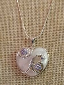 Qvc Sterling Silver mother of pearl heart and Tanzanite necklace