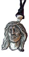 Jesus Christ Saviour Pendant Pewter Cord Necklace