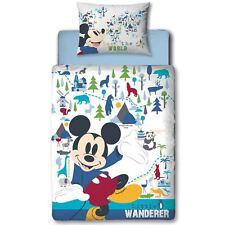 Official Disney Mickey Mouse Wanderer Panel Duvet Cover Set Junior Toddler