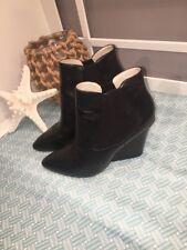 STEVEN MALIIK Black Leather Designer Boots Wedges 8.5 Booties