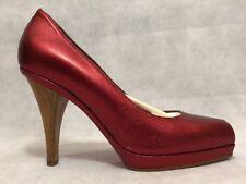 Marni Women Pump Shoes Size 37 NIB Red Open Toe Leather