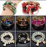Boho Agate Stone Bead Turquoise Multilayer Bangle Women Gypsy Bracelet Jewelry