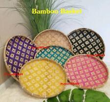 Bamboo Basket Diamon Pattern Colorful Thai Food Fruit Flower Tray Kitchen Decor