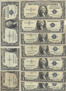 TEN $1 SILVER CERTIFICATES - ALL 1935 SERIES