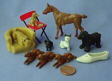 10 Dollhouse Miniature Britain'S Setter Spaniel Skye Terrier Horse