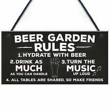 Beer Garden Rules Hanging Wall Signs Pub Garden Plaques Alcohol Friendship Gifts