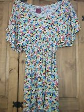 'River Island' Multi Colour Floral Mini Dress, Short Wing Sleeves, Size 10