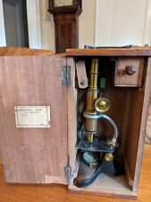 Antique Brass Student Microscope, Unknown Maker, Some Damage, Box