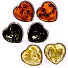 SilverAmber - 925 Silver & Amber HEART SHAPED STUDS EARRINGS COGNAC GREEN LEMON