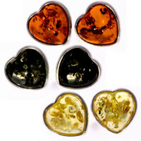 SilverAmber - 925 Silver & Amber HEART SHAPED STUDS EARRINGS COGNAC GREEN LEMON