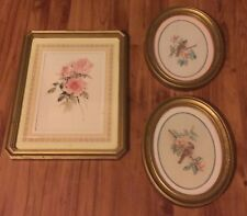 Home Interiors Picture Print Of Roses In Gold Wood Frame w 2 accent Oval Pics