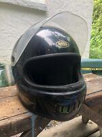Vintage 1985 Bell Sport Black Gold Full Face Motorcycle Helmet Size 7 1/8 Gringo