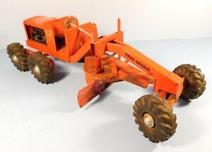Vintage NY-LINT TOYS ROAD GRADER, Heavy pressed steel, orange