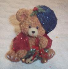 """Resin Christmas Teddy Bear 4 1/4"""" Tall x 3 5/8"""" Wide"""