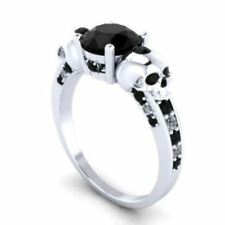 2.40Ct Round Black Diamond New Two Skull Engagement Ring 925 Sterling Silver