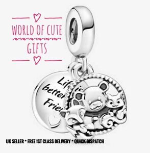 🖤🎀 LIFE IS BETTER WITH FRIENDS Charm Genuine Sterling Silver S925 Gift Wrapped