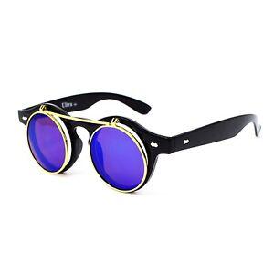 Black + Blue Flip up Circle Steampunk Glasses Goggles Retro Cyber Sunglasses UK
