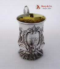 Child′s Mug Repousse Floral William Ker Reid Newcastle Sterling Silver 1851