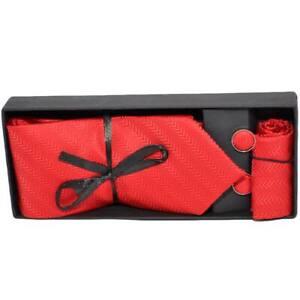 Set cravatta pochette e gemelli in cotone rosso con filigrana zigrinata confezio