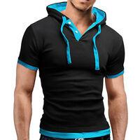 Men's V Neck Short Sleeve Muscle Tee Shirt Summer Casual Slim Fit T-shirt Tops