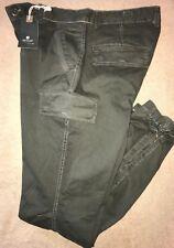 JET LAG  35 or 34  Vintage Olive Multi-Pocket Zip Tapered CARGO PANTS