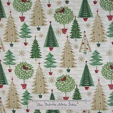 Christmas Tree Glitz Fabric - Green & Gold Tree on Cream Words - AE Nathan YARD