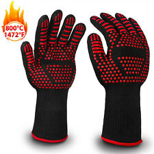 1 Pair Silicone BBQ Gloves Extreme Heat Resistant Protection Grill Cook Gloves