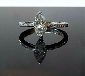 18ct W/G Single Stone Marquise Cut Diamond Ring 1.13 Carats, Colour-G,Clarity-SI