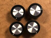 "4 Vintage Black & Silver Knight 7/8"" Round Radio Knobs Guitar Amplifier Ham 1969"
