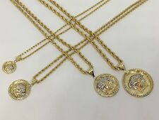 10K Solid Yellow Gold Two Tone Diamond Medusa Medallion Pendant Charm ~All Sizes