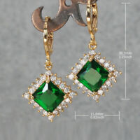 18K Gold Filled Earrings Women Turquoise Square Dangle Zircon Wedding Jewelry BR