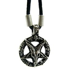 "Goat Of Mendes 18"" Cord Necklace Devil Pentagram Satanic Baphomet Pagan Pendant"