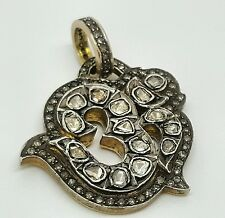 Antique OM Yugist Chanting Mantra Pendant 1.40Ct Diamond 10k Gold & Silver