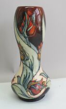 "Superb Vintage 11"" MOORCROFT ""FLORIAN"" Art Pottery Tulip Vase  MINT   Rare Form"