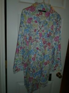 Ralph Lauren floral on white cottony sleepshirt button front white piping NWT L