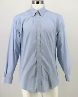 Brooks Brothers Regent Dress Shirt Size 16 Blue Check 34/35 Non-Iron Cotton Mens