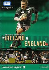 Ireland v England Under 20 27 Feb 2008 Dubarry Park RUGBY PROGRAMME