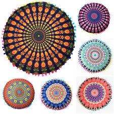 Indian Mandala Sofa Car Pillows Round Boho Waist Back Cushion Pillows Cover Case