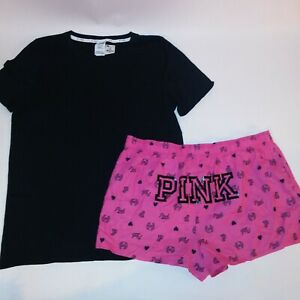 Victoria Secret PINK Pajama Set Shorts & T Shirt Sleepwear Large Pink Black Logo